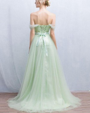 Sage Tulle Off the Shoulder Appliqued Pleated Prom Dress PM1319