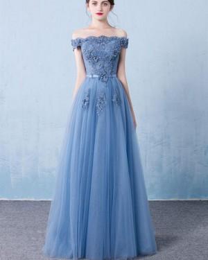 Long Tulle Off the Shoulder Blue Appliqued Prom Dress PM1320