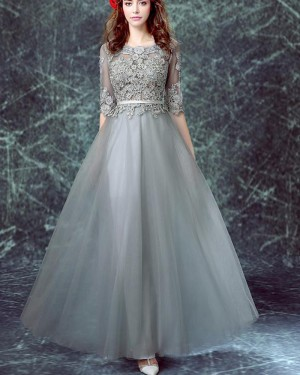 Jewel Grey Tulle Appliqued Bodice Formal Dress with Half Sleeves PM1334