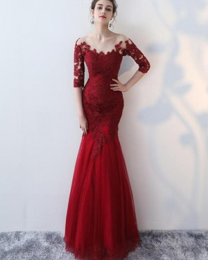 Burgundy Appliqued Off the Shoulder Mermaid Prom Dress with Half Length Sleeves PM1336