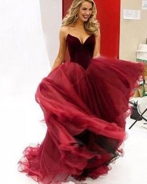 Simple Long Red Tulle Sweetheart Ball Gown Prom Dress PM1337