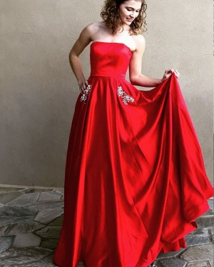 Simple Long Strapless Red Satin Prom Dress with Beading Pockets PM1340