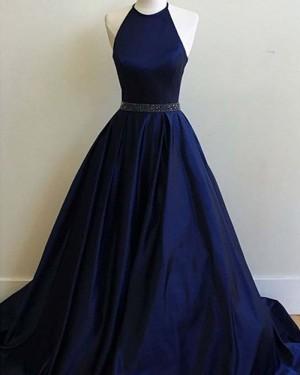 Long Navy Blue Halter Satin Prom Dress with Beading Belt PM1344