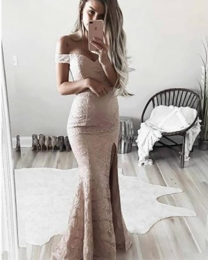 Long Pink Lace Off the Shoulder Mermaid Prom Dress with Side Slit PM1347