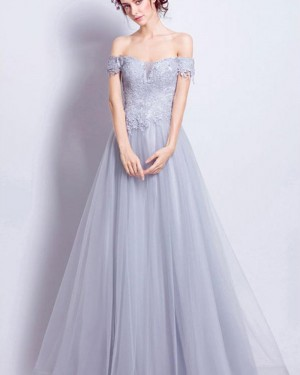 Dusty Blue Off the Shoulder Lace Appliqued Bodice Long Prom Dress PM1348