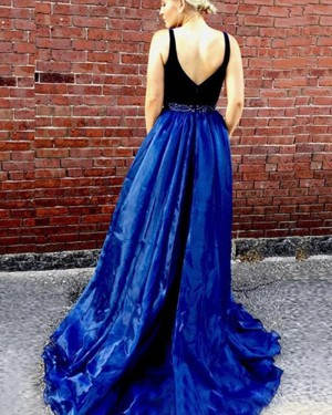 Blue Tulle Deep V-neck Beading Prom Dress with Side Slit PM1349