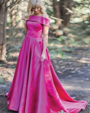 Simple Long Red Off the Shoulder Satin Prom Dress PM1353