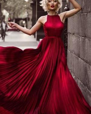 Elegant Long Halter Rose Red Satin Pleated Prom Dress PM1354