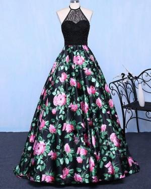 Long Floral Print Halter Beading Bodice Prom Dress PM1358