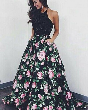 Long Floral Print Halter Beading Bodice Prom Dress PM1358