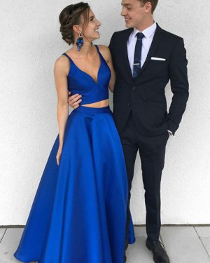 Simple Royal Blue Satin Deep V-neck Two Piece Prom Dress PM1360