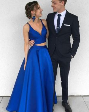 Simple Royal Blue Satin Deep V-neck Two Piece Prom Dress PM1360