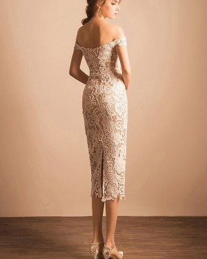Lace Ankle Length Off the Shoulder Ivory Sheath Graduation Dress PM1361