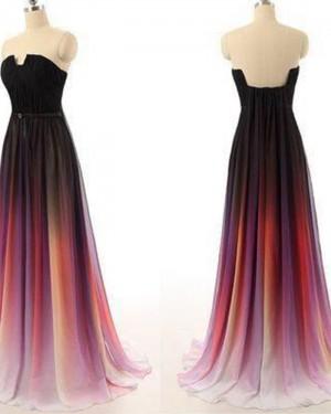 Elegant Ombre Pleated Chiffon Long Cutout Wedding Party Dress PM1362