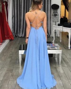 Long Sky Blue Scoop Cutout Chiffon Prom Dress with Side Slit PM1363