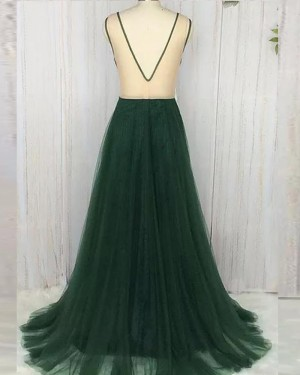 Long Tulle Deep V-neck Ruched Dark Green Formal Dress PM1364
