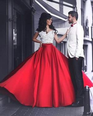 Two Piece Off the Shoulder White and Red Prom Dress with Handmade Flowers PM1366