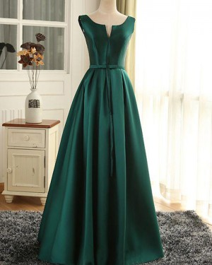 Long Green Scoop Cutout Satin Prom Dress with Lace Up PM1368