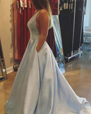 Simple Long Blue Deep Light Satin Prom Dress with Pockets PM1369