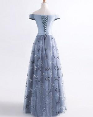 Elegant Long Lace Blue Off the Shoulder Prom Dress PM1370