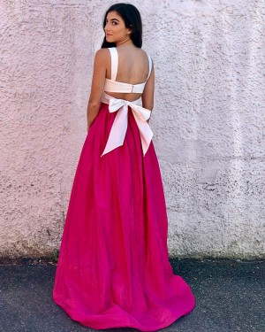 Long Two Piece White & Red Square Prom Dress with Bowknot PM1371