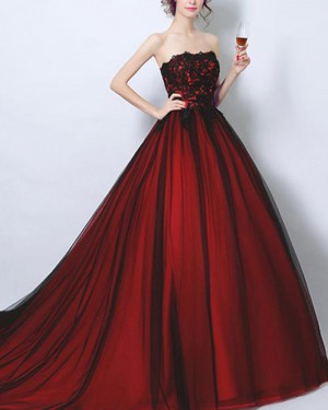 Strapless Burgundy Lace Bodice Ball Gown Evening Dress PM1372