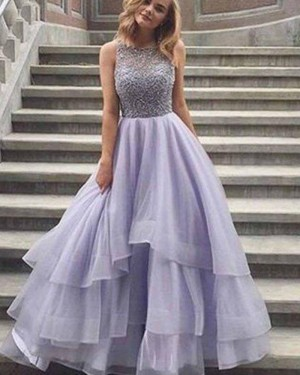 High Neck Long Lace Bodice Lavender Prom Dress with Layered Skirt PM1373