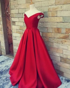 Simple Long Off the Shoulder Burgundy Satin Prom Dress PM1375