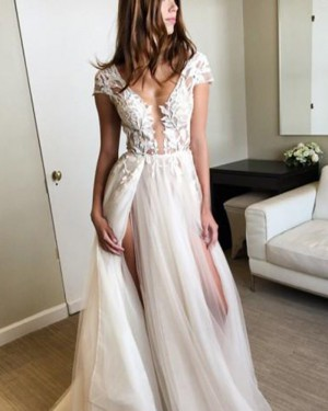 Long Tulle Scoop Lace White Appliqued Prom Dress with Double Slits PM1377