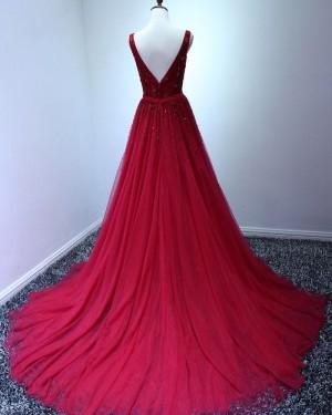 Elegant Long Tulle V-neck Burgundy Beading Prom Dress PM1378