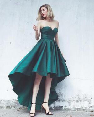 Elegant High Low Green Sweetheart Satin Prom Dress PM1379