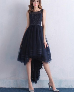 High Low Tulle Jewel Navy Blue Beading Prom Dress PM1382
