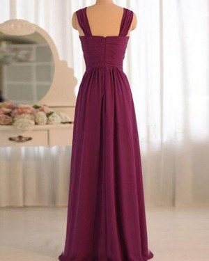 Burgundy Chiffon Ruched Crisscross Bridesmaid Dress PM1383
