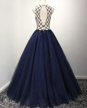 Navy Blue Pleated High Neck Beading Ball Gown Prom Dress PM1384