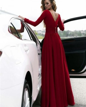 Burgundy Satin Deep V-neck Slit Prom Dress with Long Sleeves PM1385