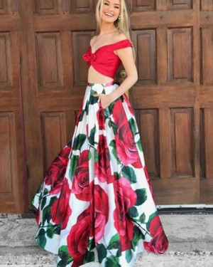 Two Piece Floral Print Off the Shoulder Prom Dress PM1386