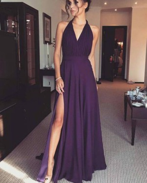 Simple Purple Ruched Halter Chiffon Prom Dress with Side Slit PM1387