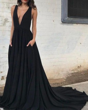 Black Deep V-neck Satin Pleated Prom Dress with Pockets PM1388
