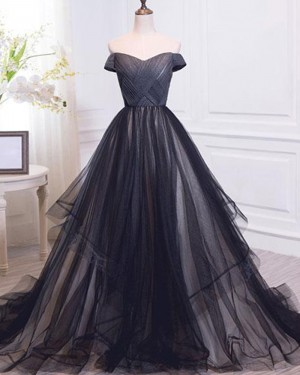 Black Off the Shoulder Ruched Tulle Ball Gown Evening Dress PM1390