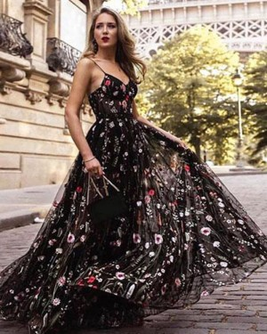 Long Floral Lace Spaghetti Straps Prom Dress PM1398
