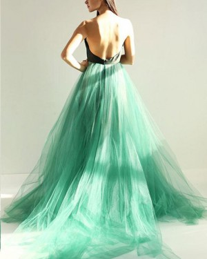 Sweetheart Long Black and Green Tulle Prom Dress with Open Back PM1399