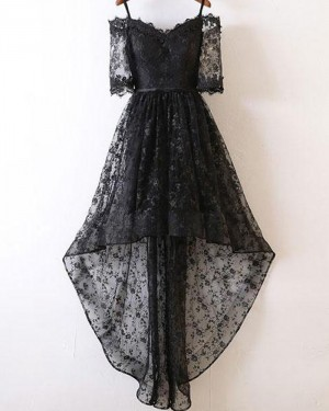 Cold Shoulder High Low Black Lace Prom Dress with Half Length Sleeves PM1400