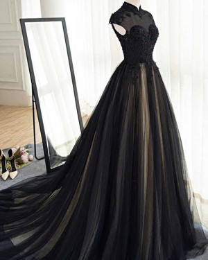 Long Black Tulle High Neck Appliqued Evening Dress PM1401