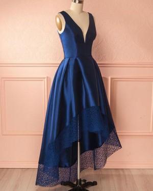 High Low Deep V-neck Royal Blue Prom Dress with Lace Hem PM1403