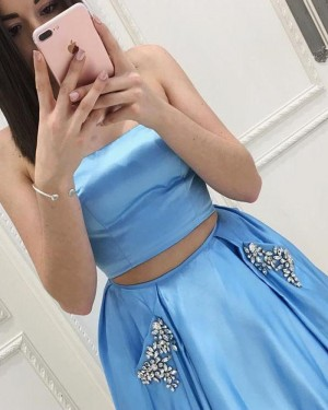 Two Piece Satin Strapless Sky Blue Prom Dress with Beading Pockets PM1405