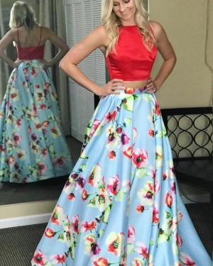 High Neck Satin Two Piece Prom Dress with Floral Print Skirt PM1409