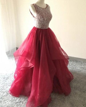 Burgundy Ruffled Beading Bodice Ball Gown Prom Dress PM1412