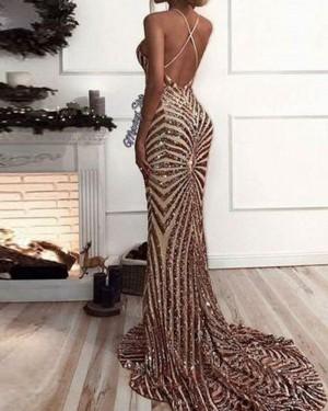 Elegant Gold Sequined Spaghetti Straps Mermaid Long Formal Dress PM1413