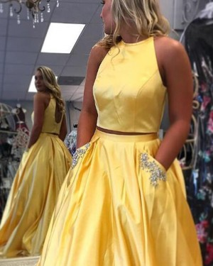 Simple Yellow Satin Two Piece Prom Dress with Beading Pockets PM1414
