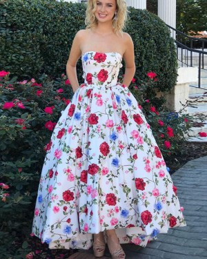 Long Floral Print Sweetheart Satin Prom Dress with Pockets PM1415